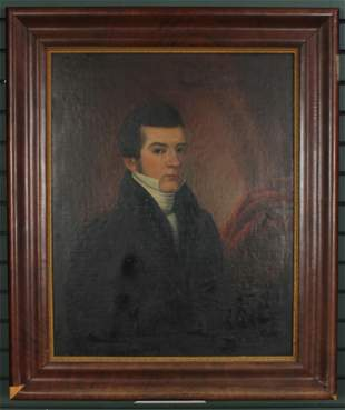 Antique Early 19th C Portrait Painting