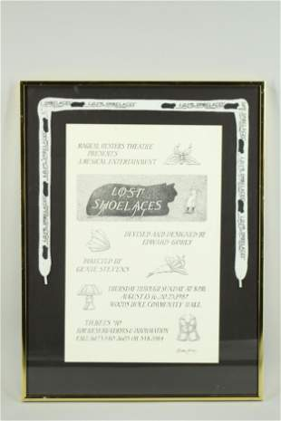 Edward Gorey Signed Theater Promotional Poster