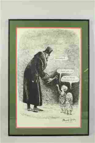 Signed Edward Gorey Christmas Spirit Poster