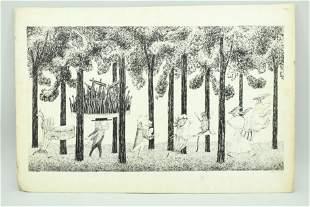Signed Edward Gorey Illustration