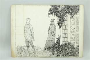Signed Edward Gorey Illustration, Deranged Cousins