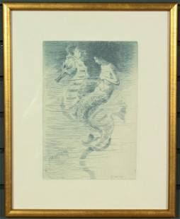 "F.S. Church ""The Mermaid"" Etching"