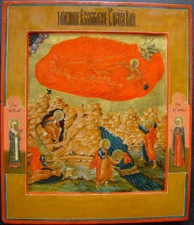 Ascention Of Elijah, 19th Century, Russian Icon.