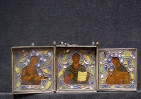 Travelling Triptych, 19th Century, Russia Icon.