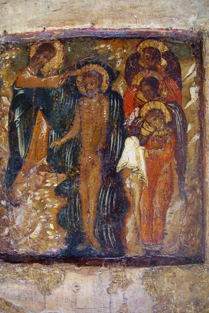 Baptism of Christ, around 1550-1600, Russian Icon. - 2
