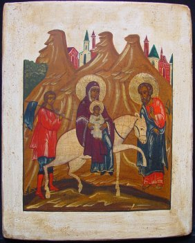 Entry Maria In Jerusalem, 19th Century, Russian Icon.