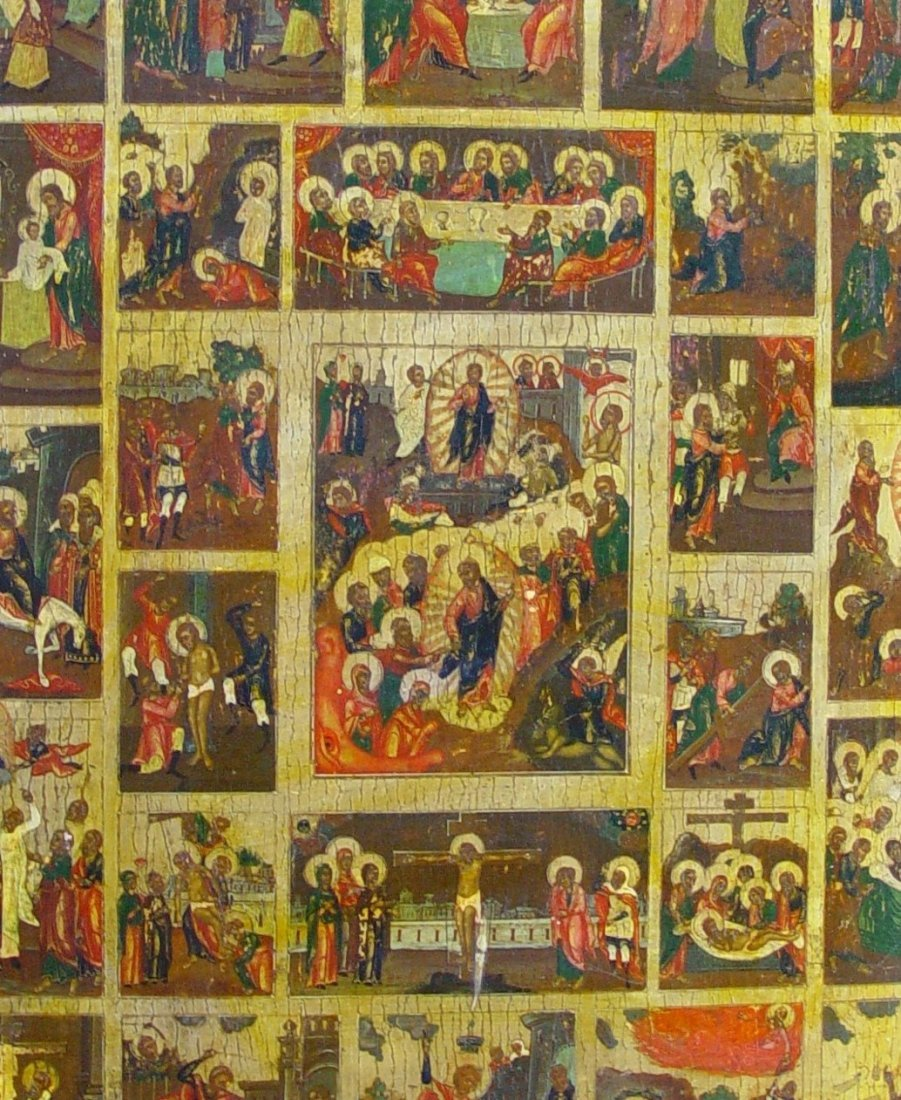 Large Feast day Icon, 19th C, Russian Icon. - 3