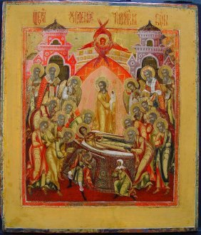 Dormation, Palech, 19th Century, Russian Icon.