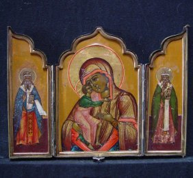 Travelling Triptych, 19th Century, Russian Icon.