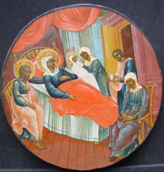 Birth of Maria,19th century,  Russian Icon