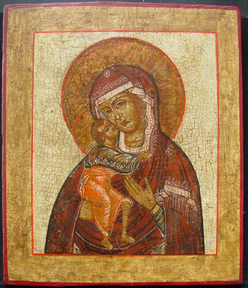 Mother of God of Vladimir, age 1880, Russian Icon