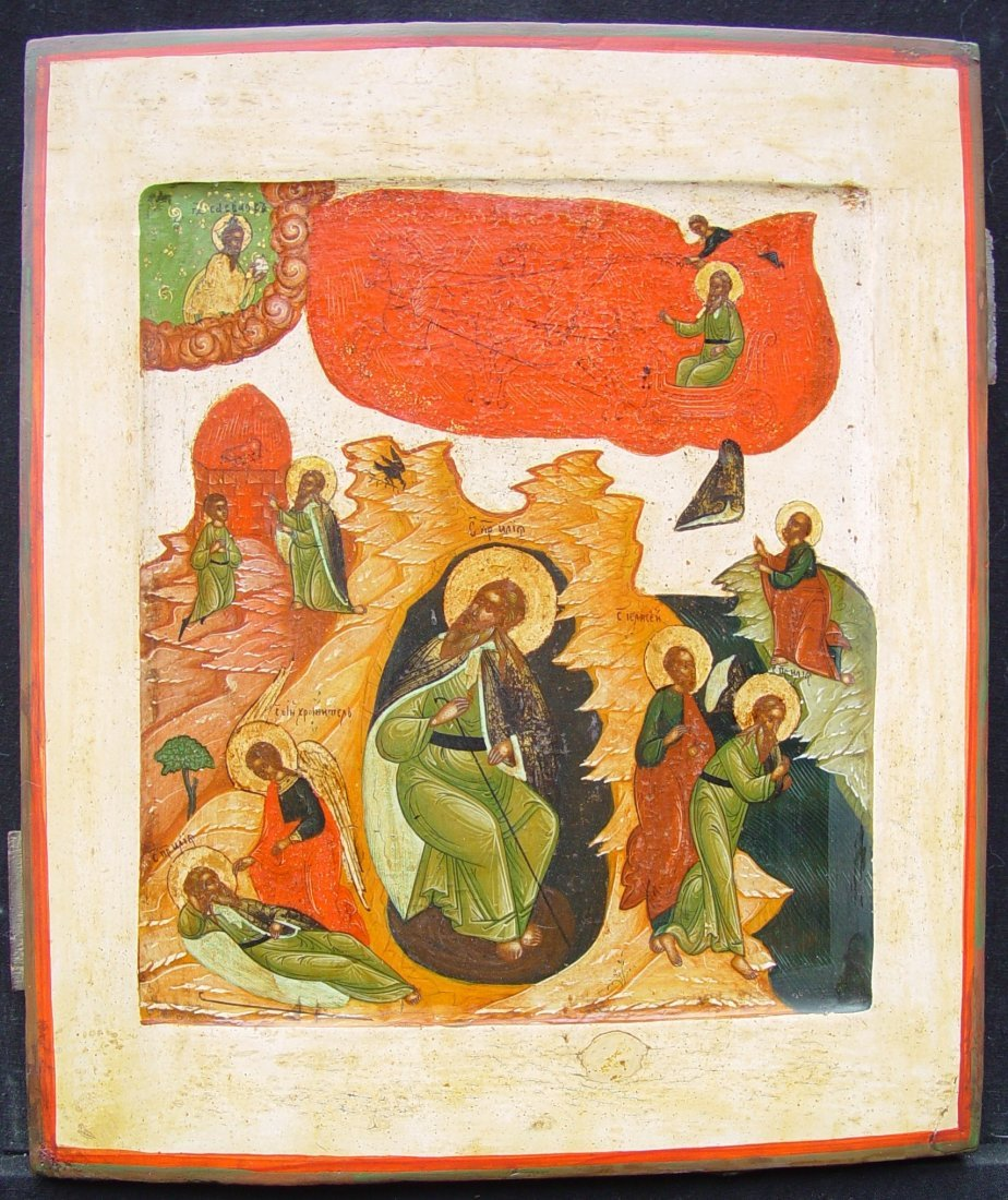 Ascension of Elijah, 19th century, Russian Icon.