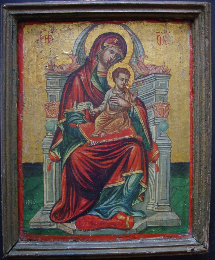 Mother of God on Throne, age 1700, Greek Icon