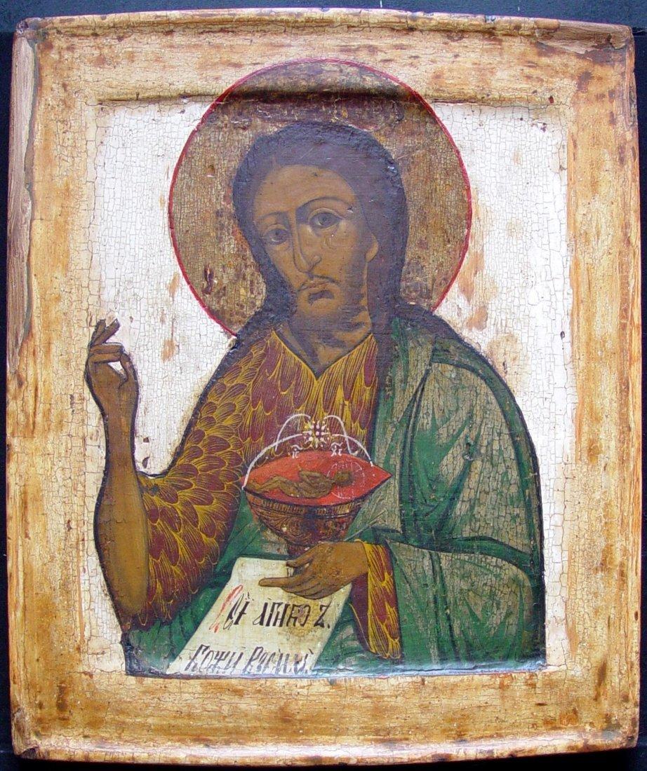 Saint John the Baptist, age 1800, Russian Icon.