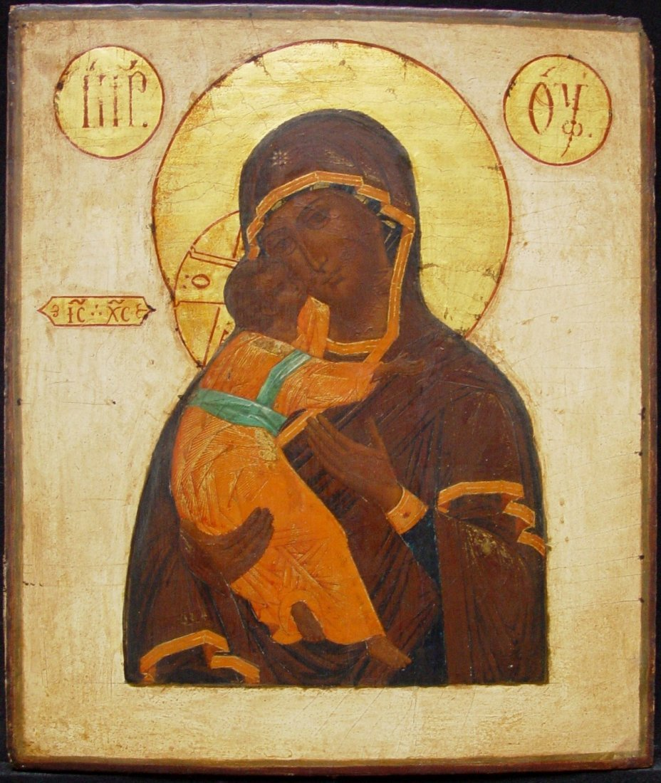 Virgin of Vladimir, 19th century, Russian Icon,