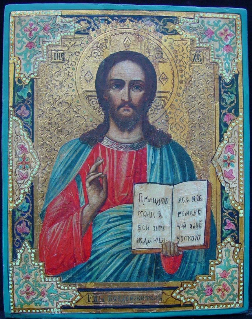Christ Pantocrator, 19th century, russian icon.
