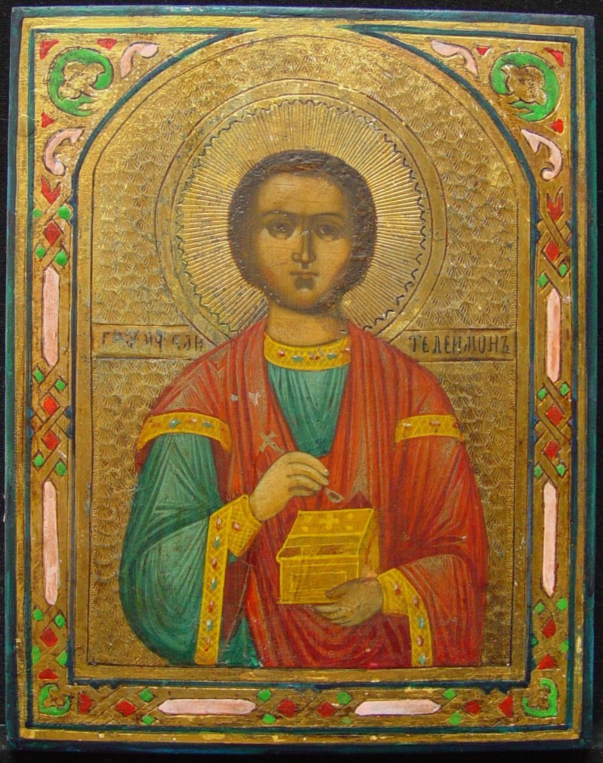 St. Panteleimon, 19th century, Russian Icon.