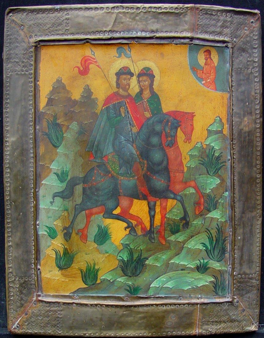 Saints Boris and Gleb, around 1880, russian icon.