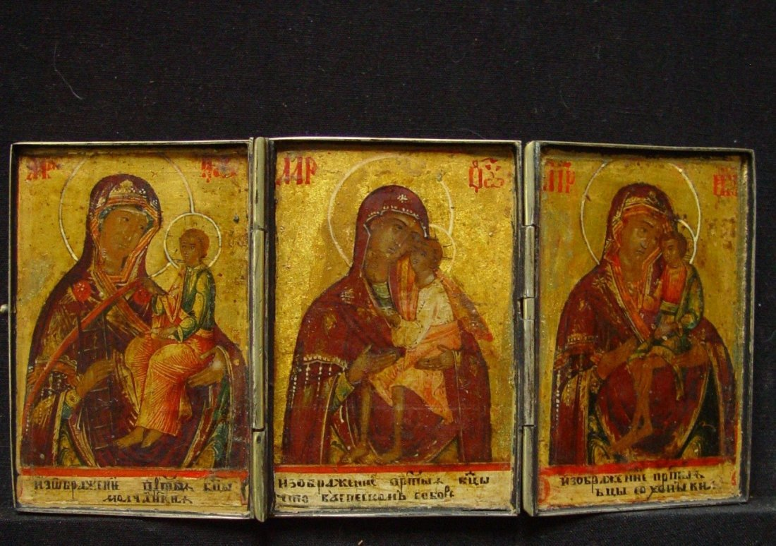 Travelling Triptych, 19th century, Russian Icon