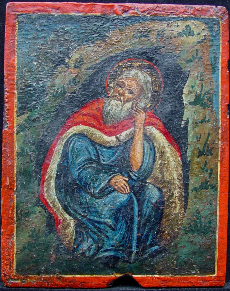 Saint Elijah in the Cave, 18th C, Greek Icon.