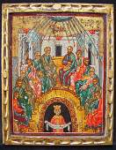 Rare Greek Icon, 20th century, Pentecost