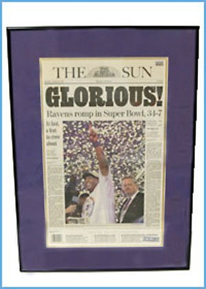 18: FRAMED/MATTED BALTO SUN RAVENS SUPERBOWL ARTICLE