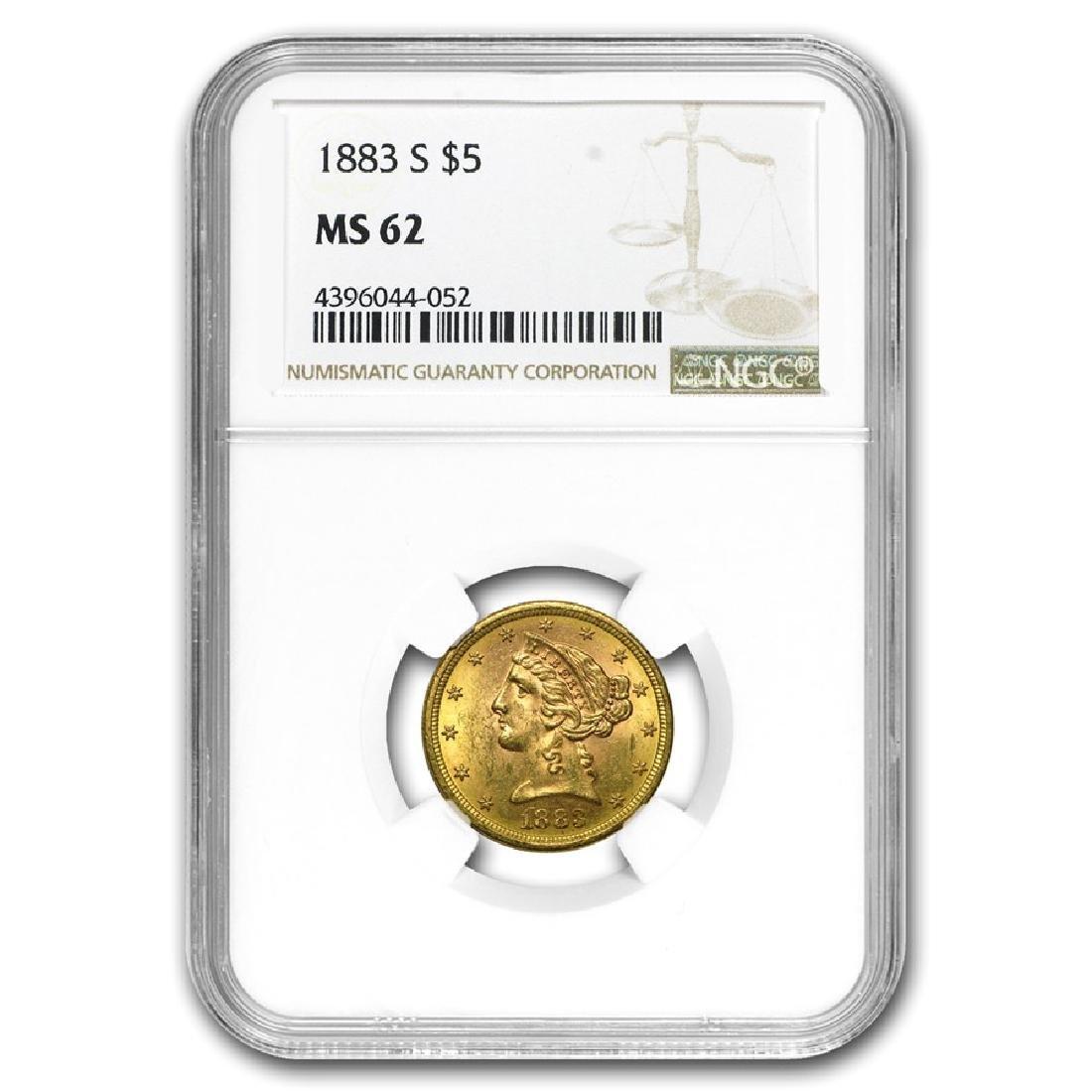 1883-S $5 Liberty Head Half Eagle Gold Coin NGC MS62