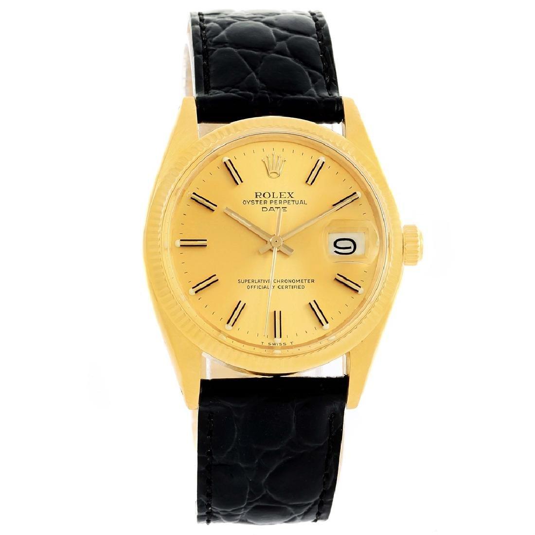 Rolex 14KT Yellow Gold Datejust Mens Wristwatch