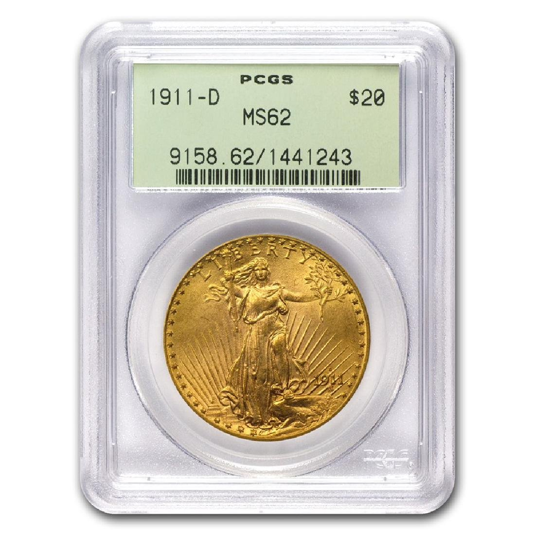 1911-D $20 Saint Gaudens Double Eagle Gold Coin PCGS