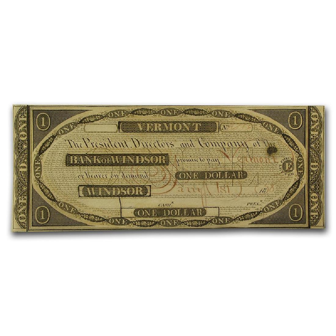 1838 $1 Bank of Windsor Vermont Obsolete Bank Note
