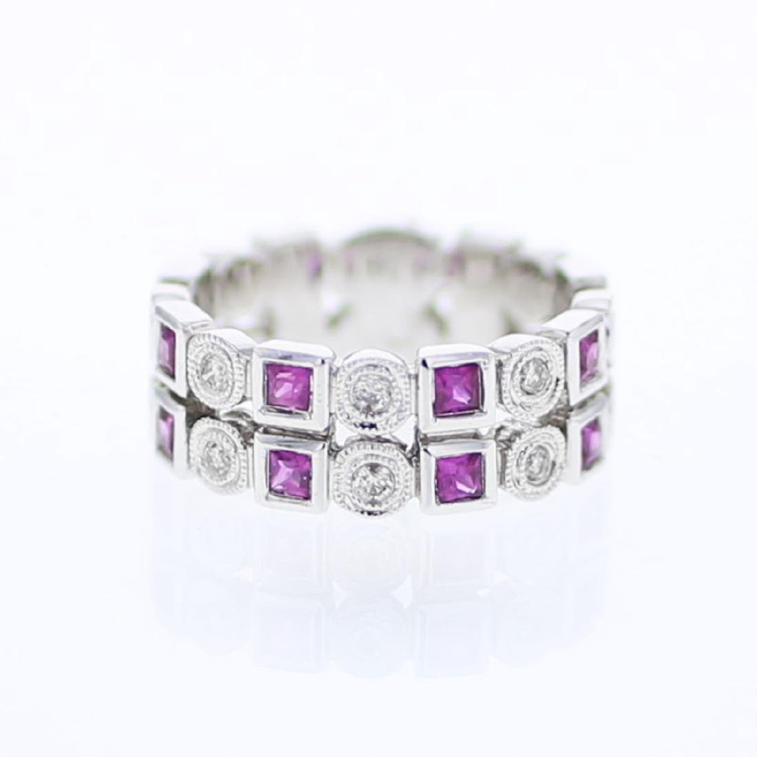 14KT White Gold 0.63ctw Ruby and Diamond Ring