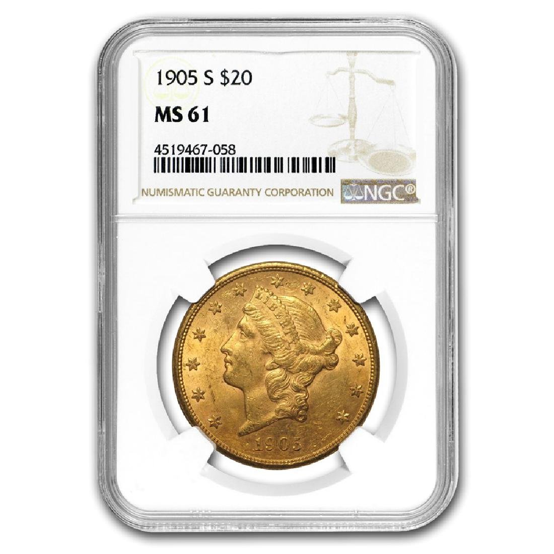 1905-S $20 Liberty Head Double Eagle Gold Coin NGC MS61