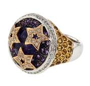 14KT Two Tone Gold 603ctw Amethyst Citrine and
