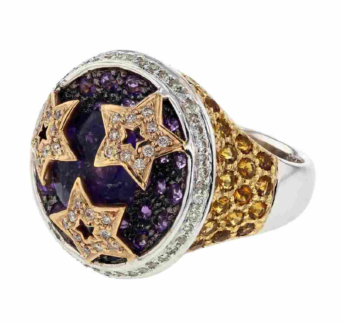14KT Two Tone Gold 6.03ctw Amethyst, Citrine and
