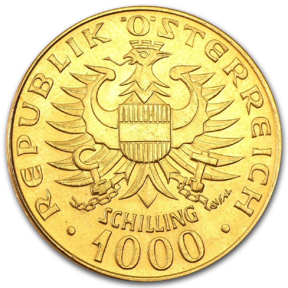 1976 Austria 1000 Schilling Gold Coin - 2