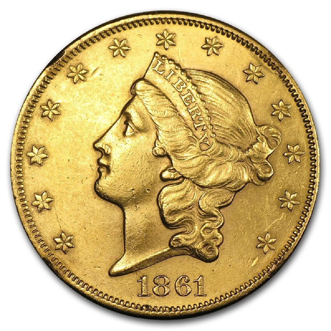 1861 $20 Liberty Head Double Eagle Gold Coin Cleaned