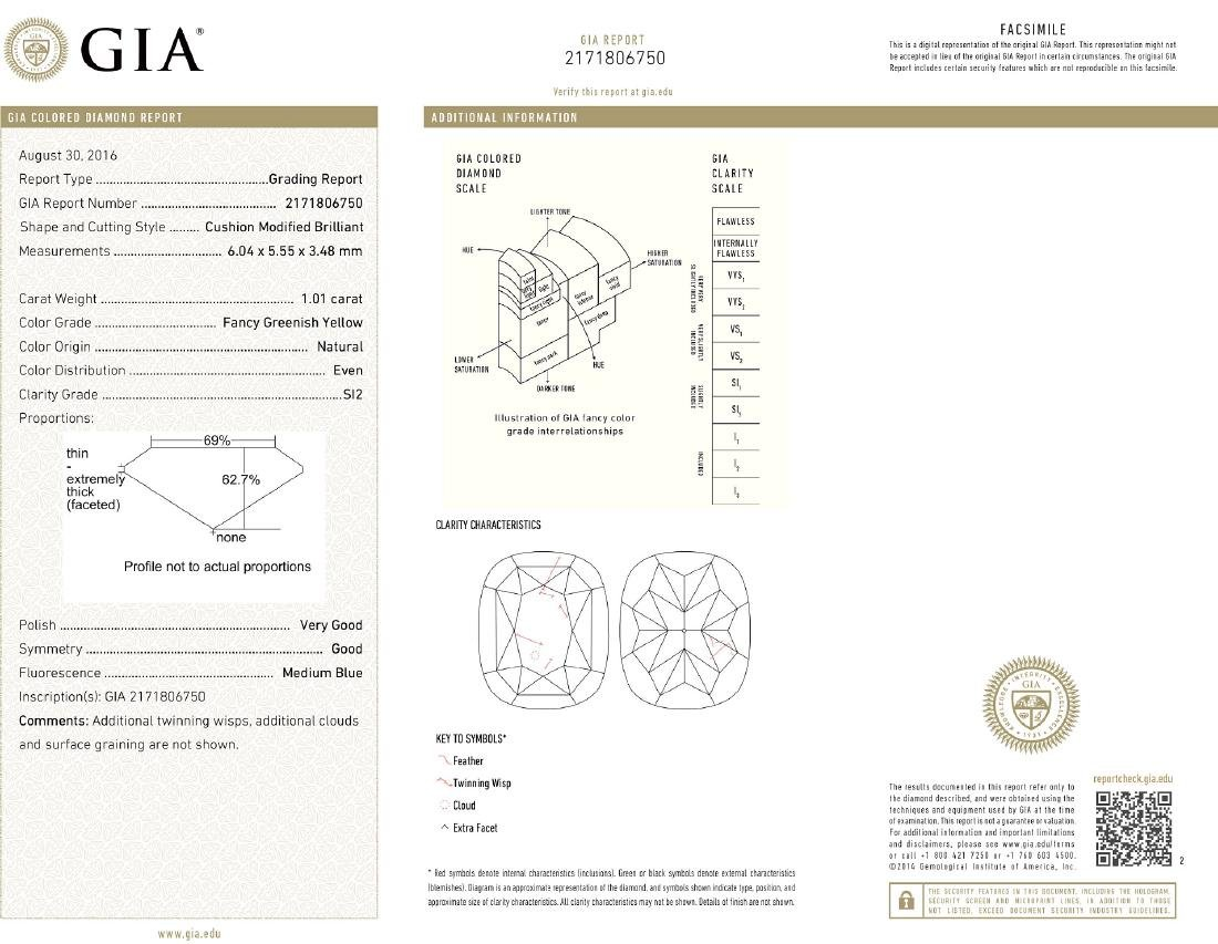 Platinum 12.17ctw GIA Cert Fancy Yellow Diamond - 10