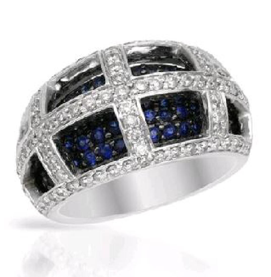 14KT White Gold 1.22ctw Blue Sapphire and Diamond Ring