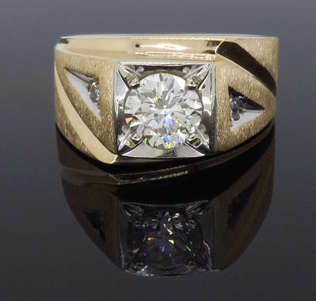 14KT Yellow Gold 1.07ctw Mens Diamond Ring