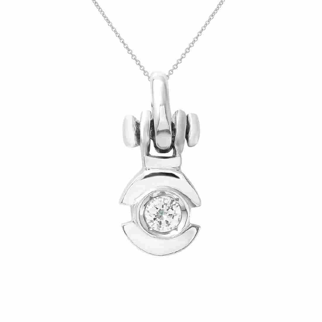 18KT White Gold 0.19ct Diamond Pendant with Chain