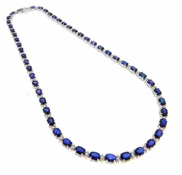 14KT White Gold 2936ctw Sapphire and Diamond Necklace