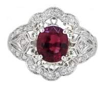 Platinum 184ct Tourmaline and Diamond Ring