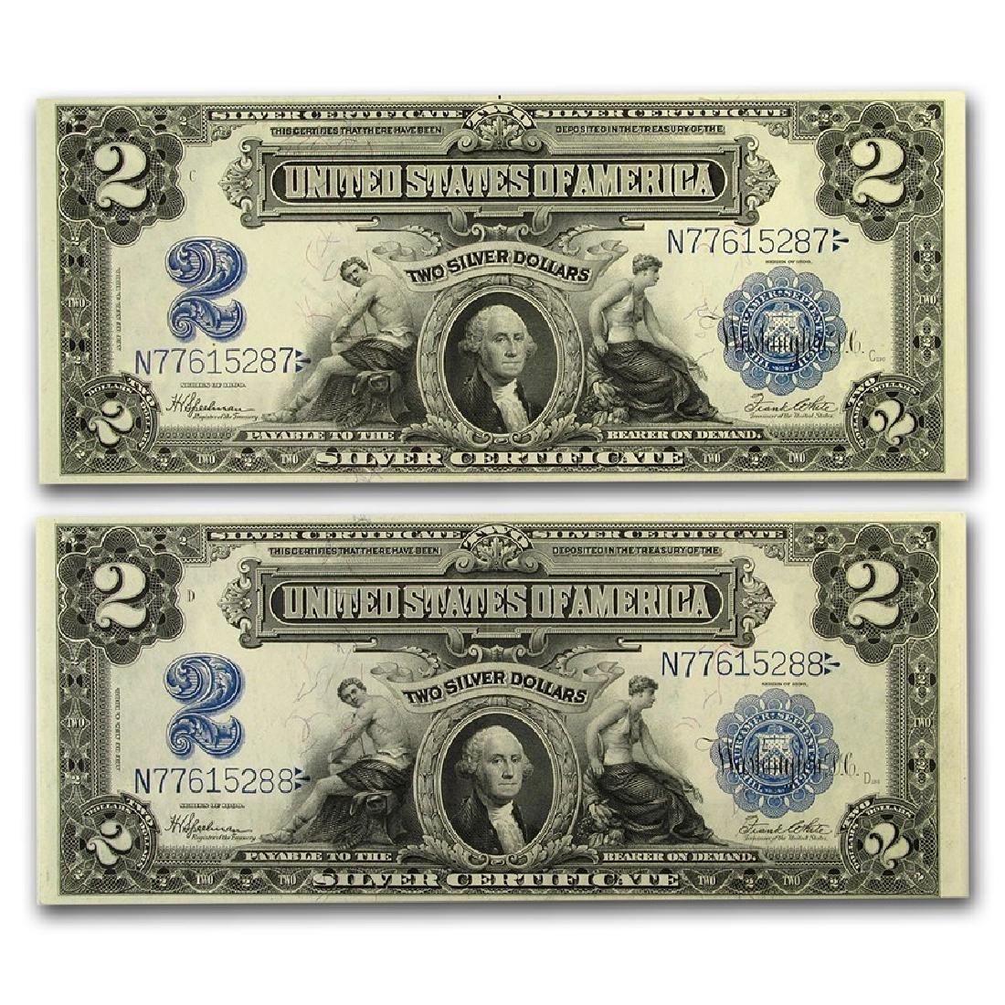 Set of (2) 1899 $2 George Washington Silver Certificate