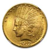 1912 10 Indian Head Eagle Gold Coin NGC MS62
