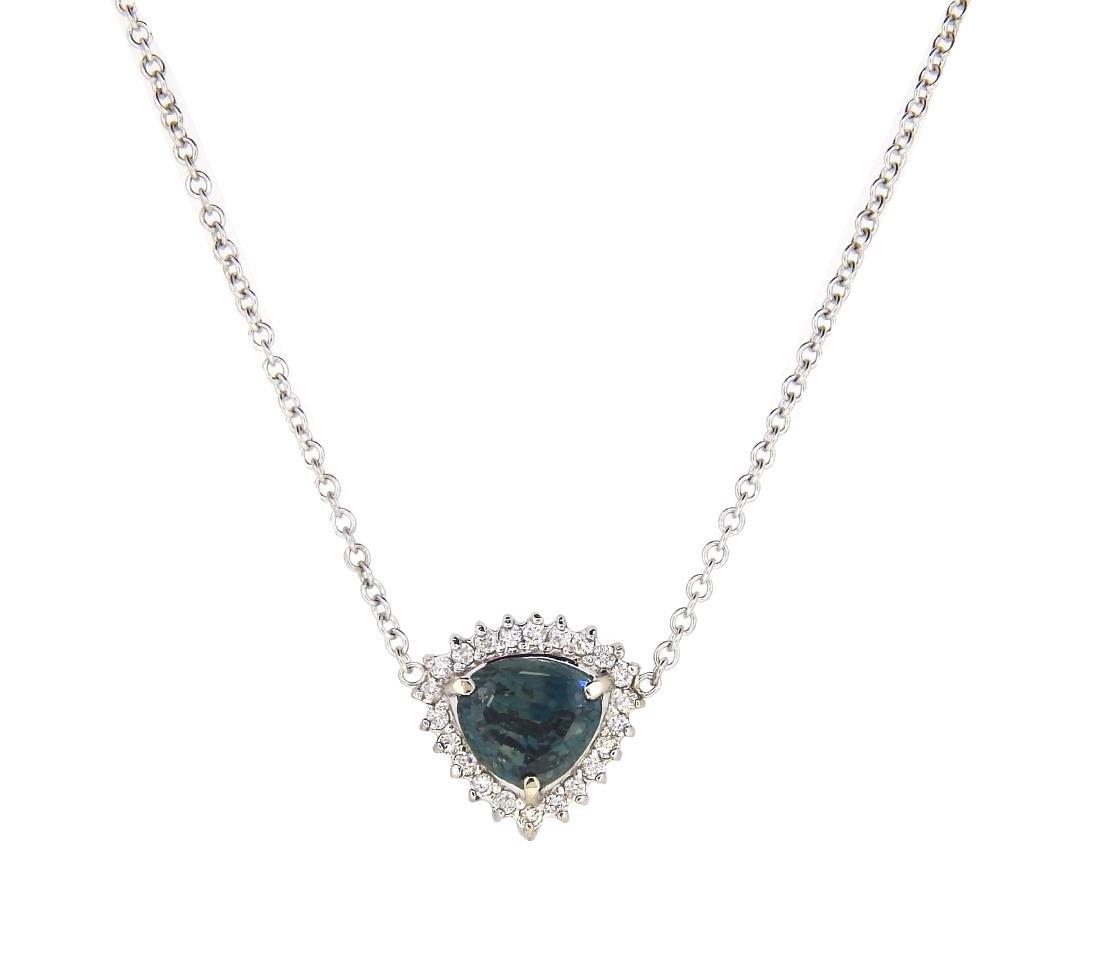 14KT White Gold 2.62ct Sapphire and Diamond Pendant
