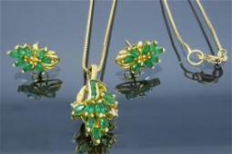 14KT Yellow Gold Emerald and Diamond Earrings and