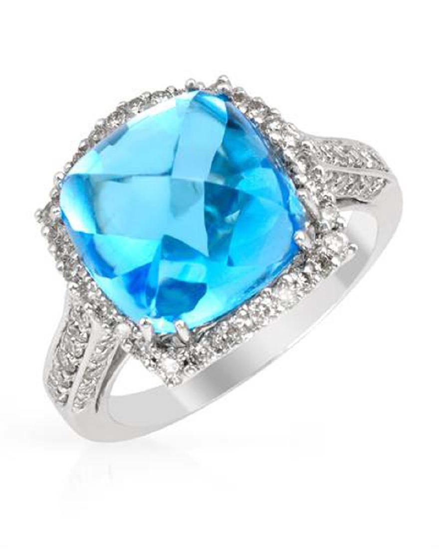 14KT White Gold 9.82ct Blue Topaz and Diamond Ring