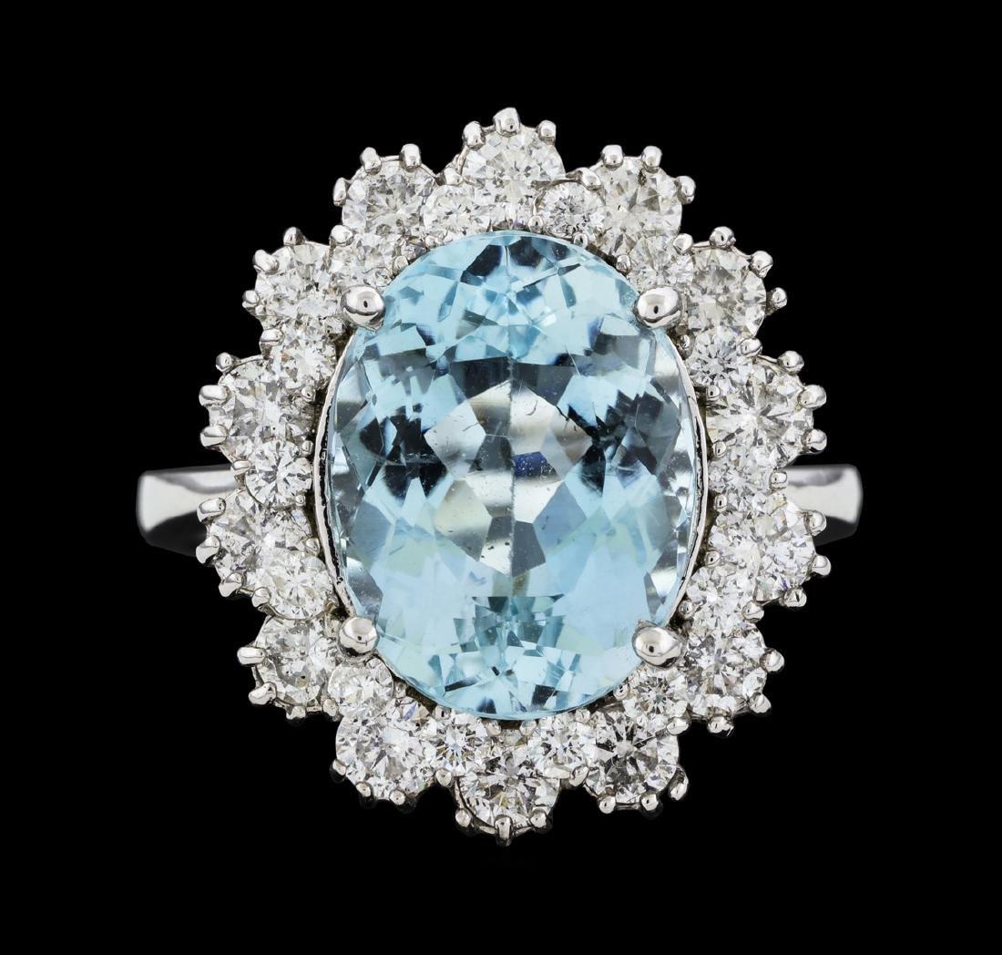 14KT White Gold 6.86ct Aquamarine and Diamond Ring
