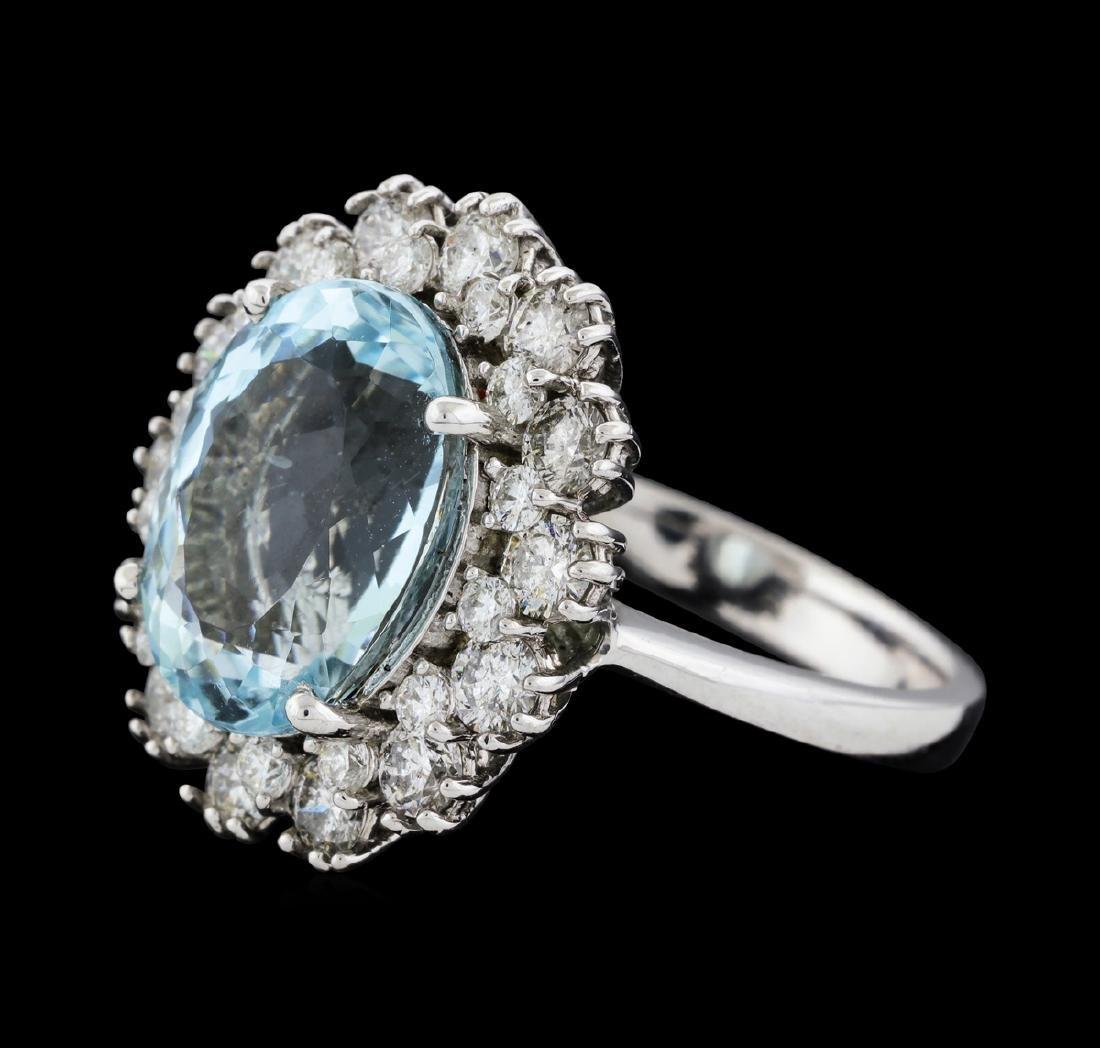 14KT White Gold 6.86ct Aquamarine and Diamond Ring - 2