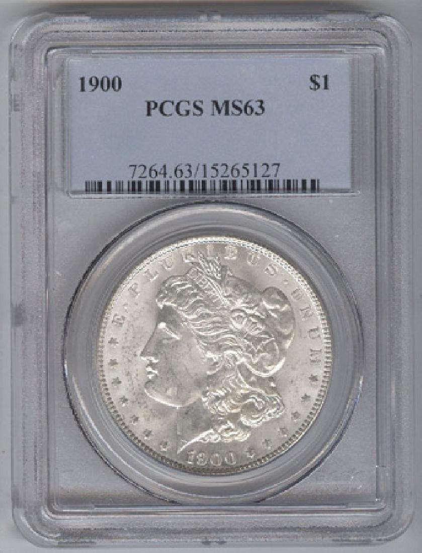 1900 $1 Morgan Silver Dollar Coin PCGS MS63